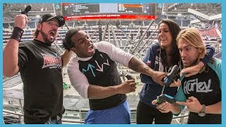 Superstars Play WWE 2K16 on the Massive WrestleMania AT&T Stadium's Video Screen