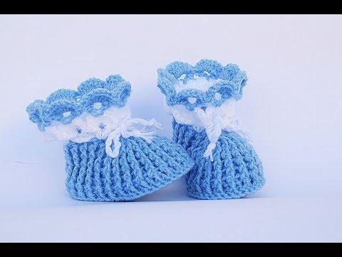 4424f55f Botitas tejidos a crochet para bebes de 1 a 2 meses paso a paso en ...