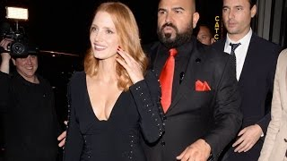 Jessica Chastain Causing Chaos In Dangerously Low Cut Dress