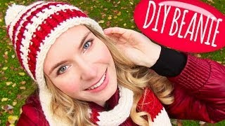 Knit a Hat! DIY Beanie Hat with Pom Pom + DIY Knitting Loom! Easy for Knitting or Crochet Beginners