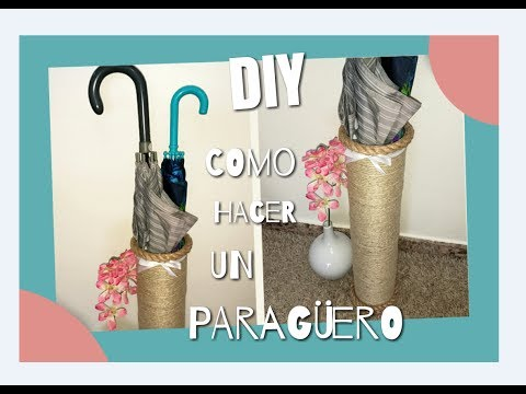DIY: Como hacer un paragüero reciclando latas y cuerda. How to make an umbrella stand with cans.