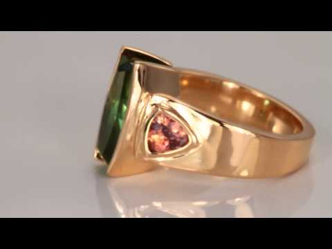 Blue Green Tourmaline and Imperial Zircon Ring