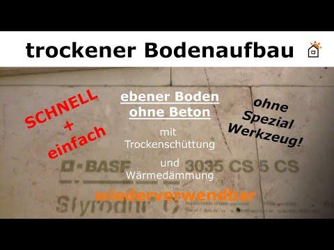 ebener Bodenaufbau mit Dämmung ohne Estrich oder Beton für Fliesen