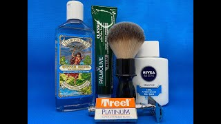 Mühle R89, Treet Platinum, RazoRock 400, Palvolive Rasiercreme und Nivea Men Cool After Shave Balsam