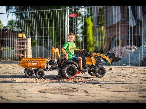 Tractopelle à pédales enfant Case IH Construction + excavatrice et selle pivotante + remorque - FALQUET