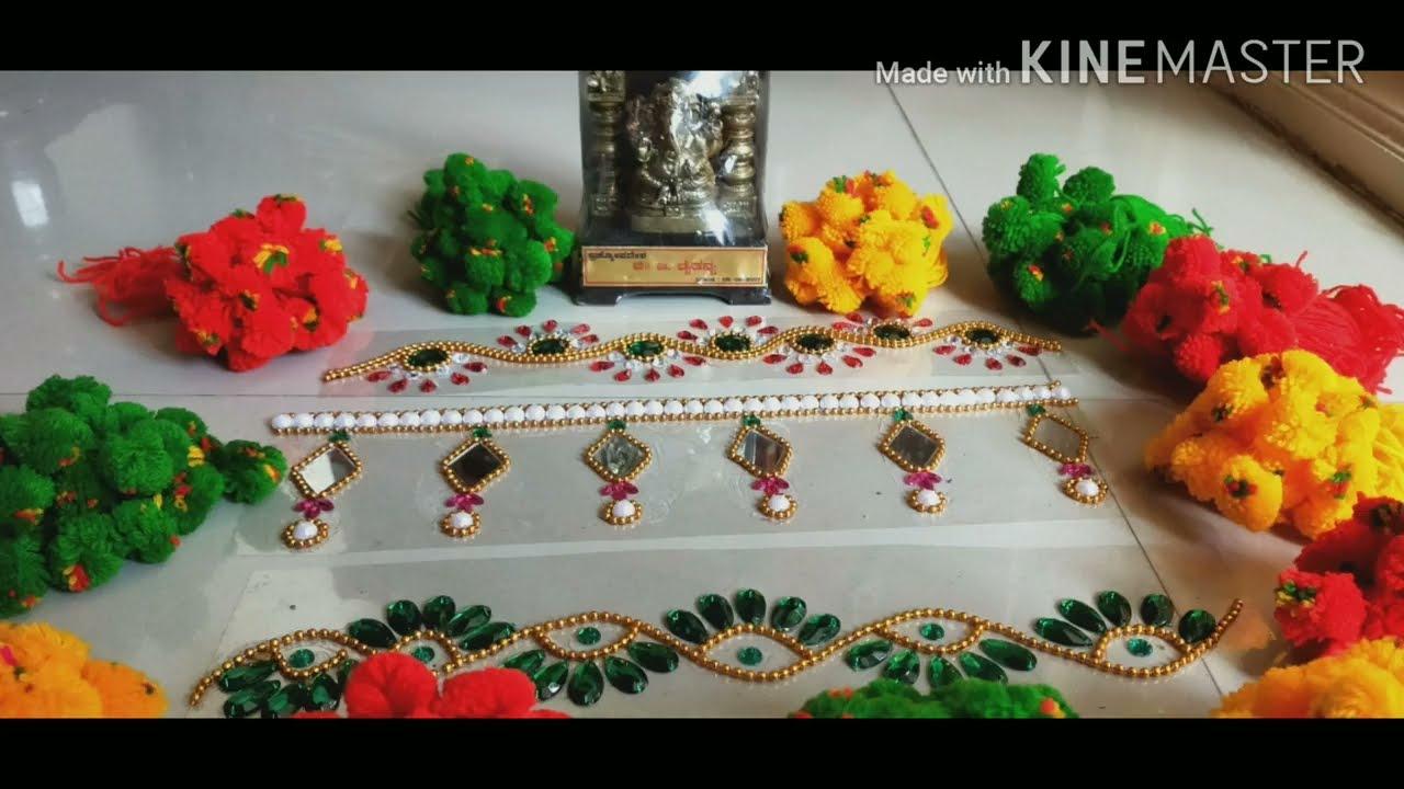 easy border kundan rangoli design for diwali by madhurinag creations