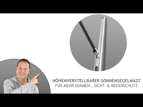 Sonnensegel Mast ø60,3mm, 3mm Wandung individuell höhenverstellbar - inkl. echtem 3-fach Flaschenzug