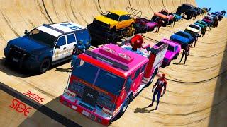 SpiderMan and fire truck Cars Сhallenge Superheroes GTAV !Человек-паук и Пожарный автомобиль