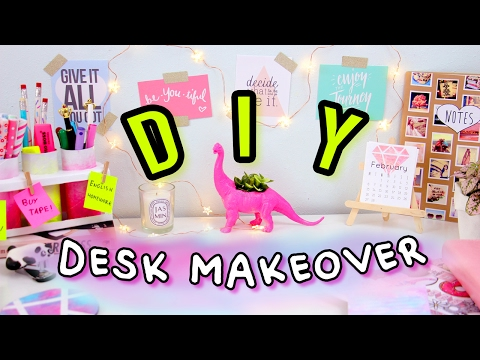 DIY Desk Decor & Organization | Desk Makeover 2017! Make Your Desk Cute & Tumblr!