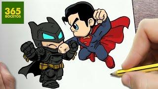 COMO DIBUJAR BATMAN VS SUPERMAN KAWAII PASO A PASO - Dibujos faciles - draw BATMAN VS SUPERMAN