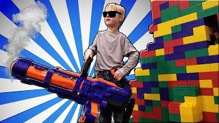 2 Story LEGO FORT Nerf Battle - Parents vs Kids