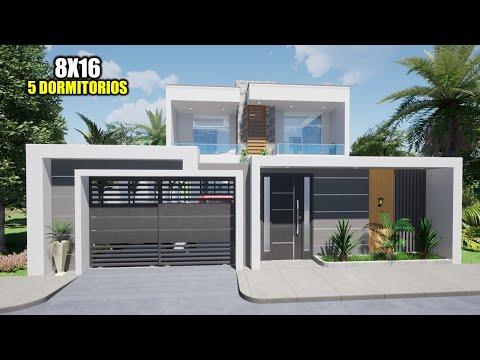 LINDA CASA DE DOS PISOS - 5 DORMITORIOS 8x16 (RVL CASAS 2020)