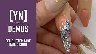 Young Nails Nail Demo - Gel Glitter Fade Nail Design - Gel Nails