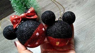 Adornos / Esferas De Mickey Y Minnie Mouse * Navidad * 🎄- Brotes De Creatividad