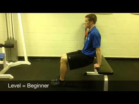 Bent knee bench dips