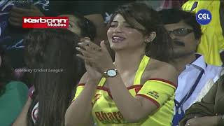 Glamorous Shruti Haasan Cheering for Chennai as Jiiva's Direct Hit Gets Wicket. Chennai Vs Kolkatta