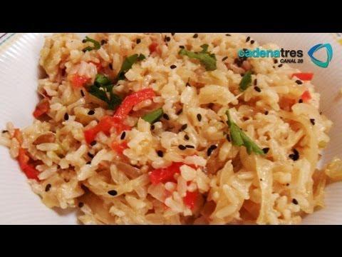 Receta de arroz integral con germinados y semillas. Receta de arroz/Arroz integral/Rice recipe