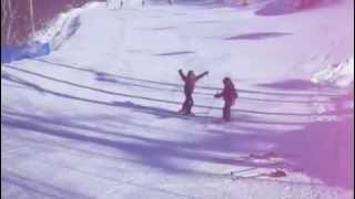 Beginner freestyle skiing