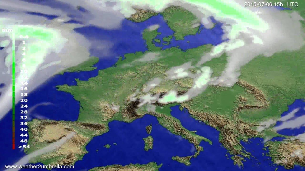Precipitation forecast Europe 2015-07-03