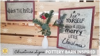POTTERY BARN INSPIRED CHRISTMAS SIGNS | MERCURY GLASS | MIRROR ART | INDUSTRIAL FARMHOUSE DIY