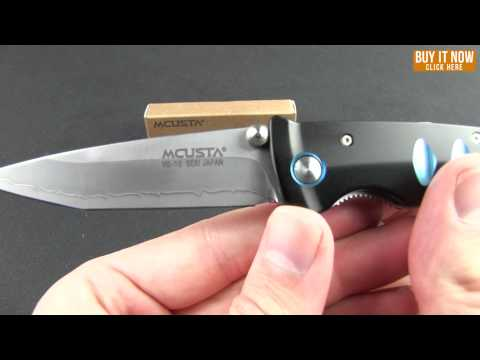 "Mcusta Katana Liner Lock Knife Black/Blue Aluminum (3.25"" Satin) MC-41C"