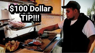 GIVING $100 DOLLAR TIP in Mexico - Mexican Street Taco Stand - BEAUTIFUL Reaction At The End!!