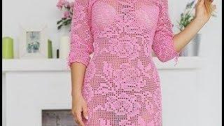 Филейное Вязание Крючком - Платья 2017 / Knitting Pattern Knitting Hook Dresses / Die Filet häkeln