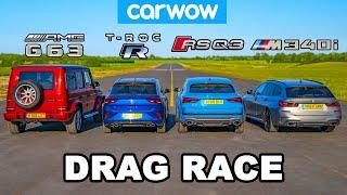 BMW M340i vs AMG G63 v Audi RSQ3 vs VW T-Roc R: DRAG RACE