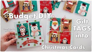 DIY Budget Christmas Cards Made From Old GIFT TAGS ♡ Maremis Small Art ♡