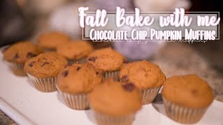 chocolate chip pumpkin muffins with cake mix