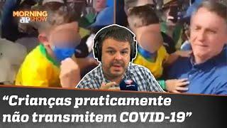 Bolsonaro aglomera e tira máscara de criança no Rio Grande do Sul