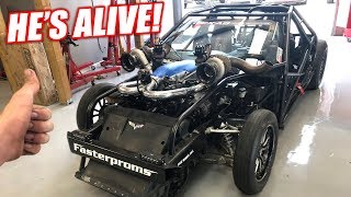 Leroy's First Fire Up w/NEW 1500hp LSX Engine! Sounds Like BALD EAGLES!!!