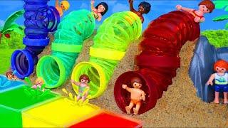 Kinder lernen Farben | Geschichten mit Bagger und Feuerwehrauto Spielzeug
