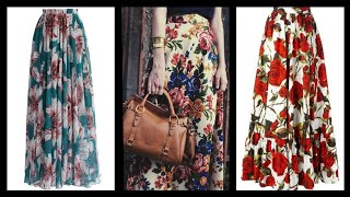 Latest 2020 Fashion Floral Print Maxi Skirts Collection To Wear With Blouses And Tops Dresses