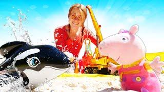 Peppa Wutz spielt im Sandkasten. Spielzeugvideo für Kinder.