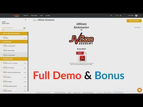 JVZoo Academy Full Demo By Sam Bakker - Full Walkthrough Of The Training