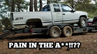 Loading a junk truck with no rear axle!