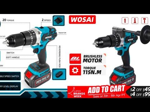 Бесщеточная аккумуляторная дрель WOSAI 20V WS-MD13 Brushless cordless drill