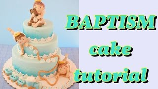 Fondant  Baptism Cake Tutorial Torta Battesimo Angeli Pasta Di Zucchero Tutorial