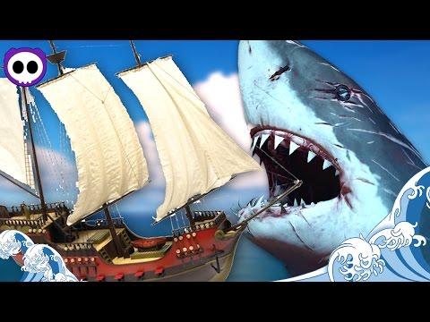 MEGALODON SHARK vs PIRATE SHIP!? ✪ Open World Naval Battles