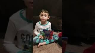 Chafik reading PJ Mask Nighttime Heroes