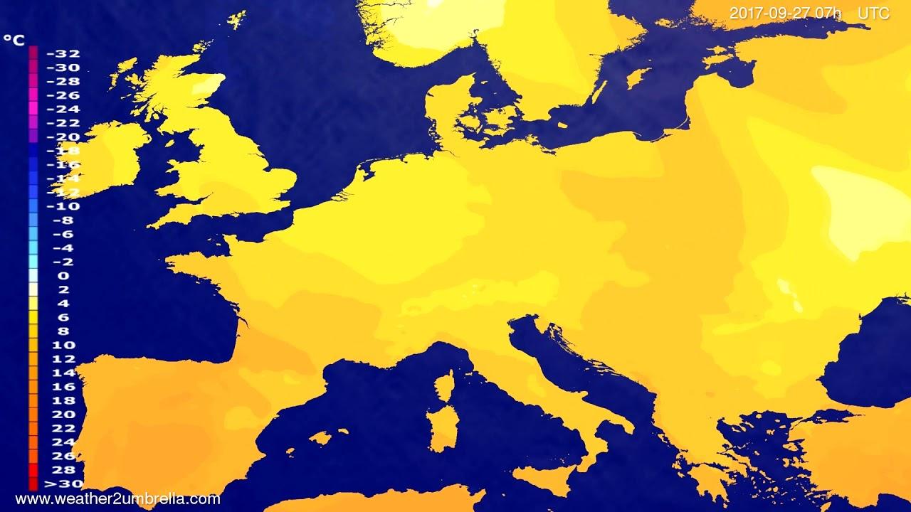 Temperature forecast Europe 2017-09-23