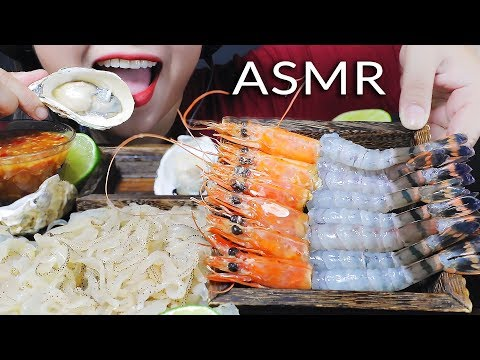 ASMR MOST POPULAR RAW SEAFOOD ON MY CHANNEL PART 04 RAW SHRIMP JELLYFISH MILK OYSTER | LINH-ASMR 먹방