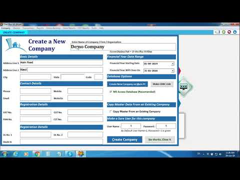 How to Create New Company in One Plus GST Software?