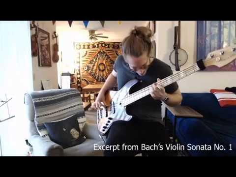 Practicing the Presto from Violin Sonata No. 1 by J.S. Bach.