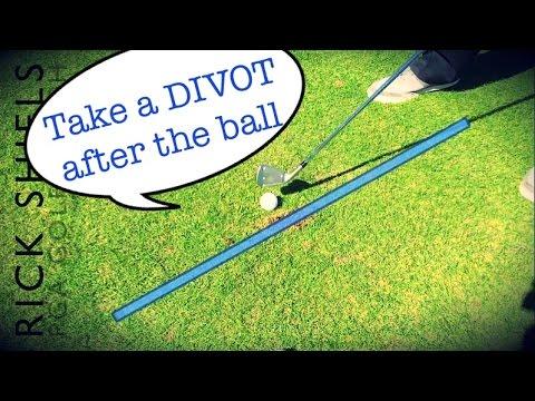 Take a DIVOT after the golf ball