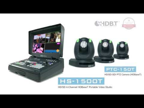 Datavideo HS-1500T HD | SD 4-Channel HDBaseT Portable Video Studio and PTC-150T HDBaseT