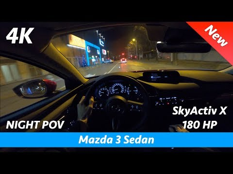 Mazda 3 Sedan 2020 - Night POV test drive in 4K | SkyActiv X 180 HP Acceleration 0 - 100 km/h