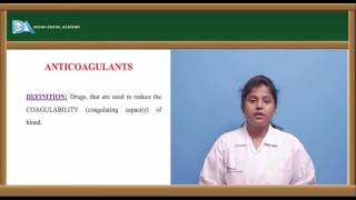 Pharmacology lectures for Dental students-Anticoagulants