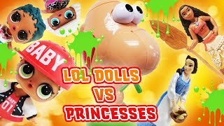 LOL Surprise Dolls VS Disney Princesses! Gooey Louie Game Day to Win My Little Pony Blind Bags!
